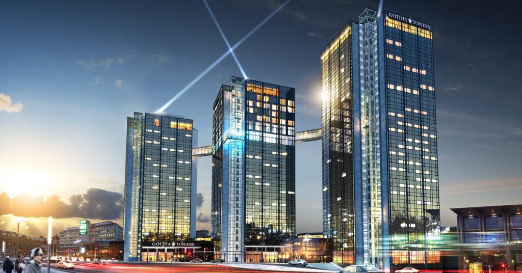 A versenynek helyszínt adó Gothia Towers Hotel.